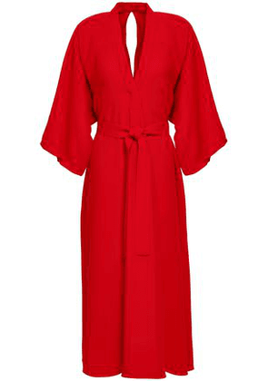 Tome Woman Belted Crepe Midi Dress Red Size 2