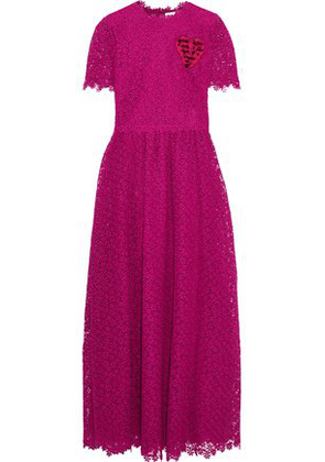 Valentino Woman Appliquéd Pleated Lace Maxi Dress Magenta Size 40
