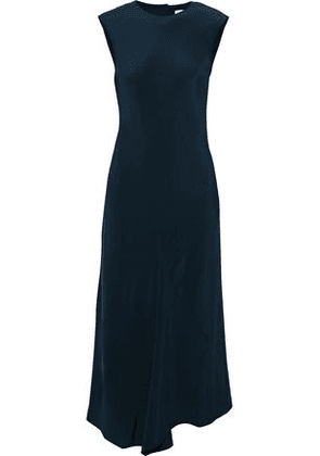 Tibi Woman Open-back Fluted Silk Midi Dress Navy Size 8