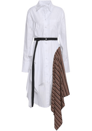 Tome Woman Draped Paneled Cotton Shirt Dress White Size 2