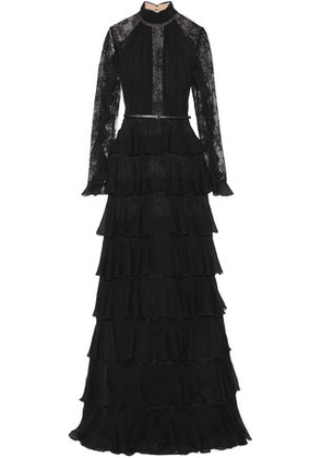Elie Saab Woman Lace-paneled Tiered Chiffon Gown Black Size 36