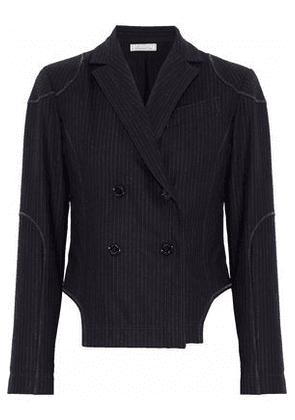 Nina Ricci Woman Double-breasted Pinstriped Wool-blend Blazer Navy Size 34