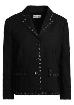 Redvalentino Woman Eyelet-embellished Wool-blend Jacket Black Size 40