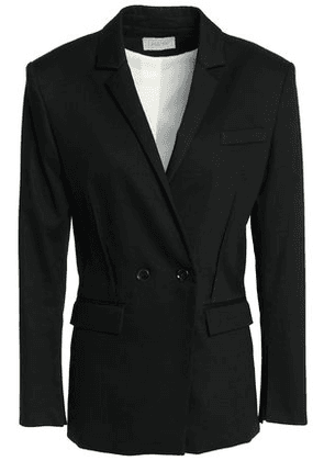 House Of Dagmar Woman Double-breasted Cotton-blend Blazer Black Size 40