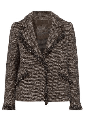 Etro Woman Frayed Tweed Jacket Black Size 42
