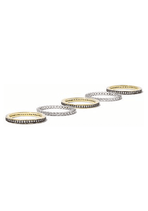 Cz By Kenneth Jay Lane Woman Set Of Six Gold And Silver-tone Crystal Rings Gold Size 6