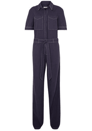 Burberry Woman Belted Cotton And Linen-blend Jumpsuit Indigo Size 16