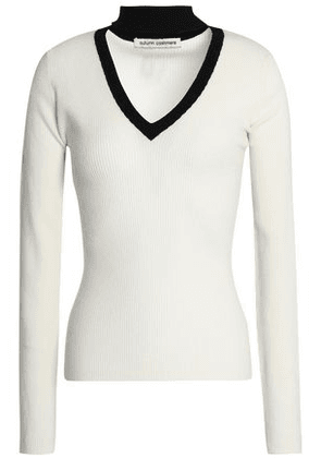 Autumn Cashmere Woman Ribbed Merino Wool-blend Sweater Ivory Size M