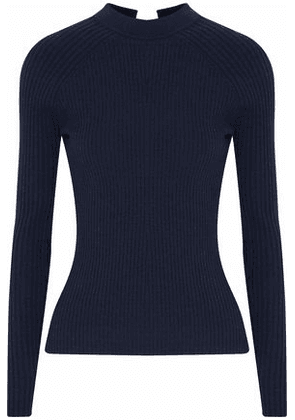 Autumn Cashmere Woman Tie-back Ribbed Merino Wool-blend Sweater Midnight Blue Size M