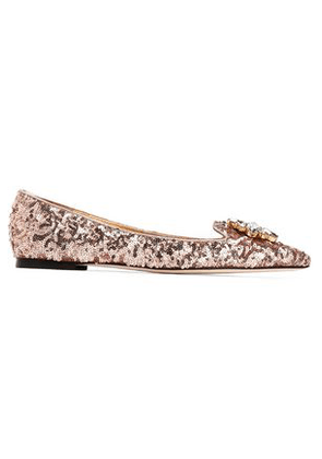 Dolce & Gabbana Woman Crystal-embellished Sequined Leather Point-toe Flats Rose Gold Size 37