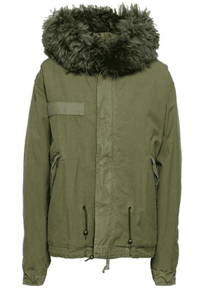 Mr & Mrs Italy Woman Shearling-trimmed Cotton-canvas Hooded Jacket Army Green Size XL