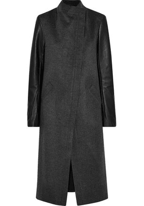 Veda Woman Cadillac Leather-paneled Wool-blend Coat Anthracite Size S
