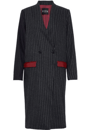 Veda Woman Corporate Leather-trimmed Pinstriped Wool-blend Coat Charcoal Size M
