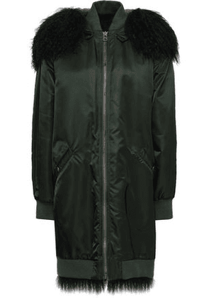 Mr & Mrs Italy Woman Shearling-trimmed Shell Hooded Coat Emerald Size M