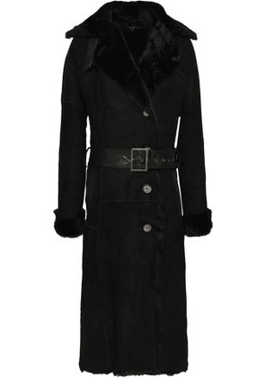Dom Goor Woman Belted Leather-trimmed Shearling Coat Black Size 6