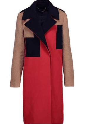 Belstaff Woman Rollins Paneled Color-block Wool And Cashmere-blend Coat Tomato Red Size 40