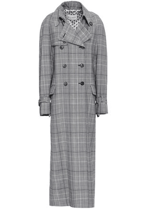 Etro Woman Prince Of Wales Checked Wool And Mohair-blend Trench Coat Gray Size 40