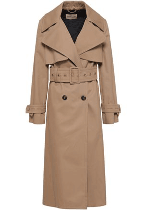 Roberto Cavalli Woman Double-breasted Gabardine Trench Coat Neutral Size 40