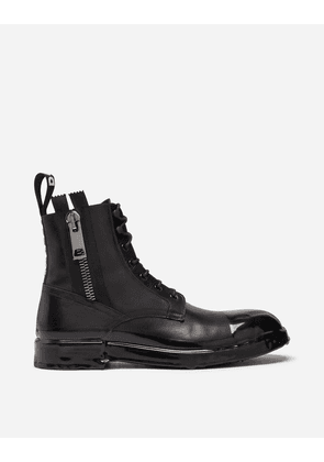 Dolce & Gabbana Boots - ANKLE BOOT IN SUMMER CALFSKIN WITH IMMERSION FINISH BLACK