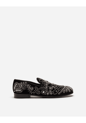 Dolce & Gabbana Loafers and Slippers - VELVET SLIPPERS WITH EMBROIDERY MULTI-COLORED