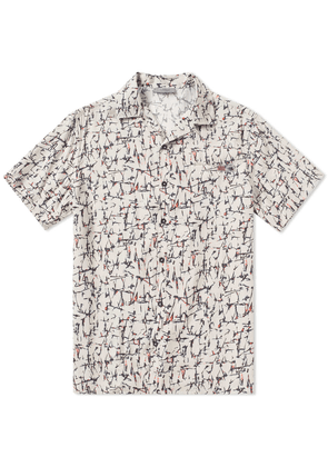 Lanvin Cracked Paint Bowling Shirt Ecru