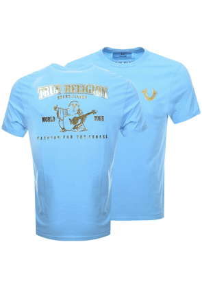 True Religion Metallic Buddha T Shirt Blue