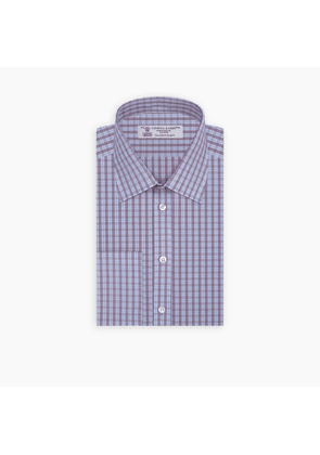 Red and Blue Brush Check Sea Island Quality Cotton Shirt with T & A.