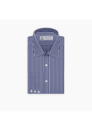Navy and White Deep Stripe Cotton Shirt with T & A Collar and Button.