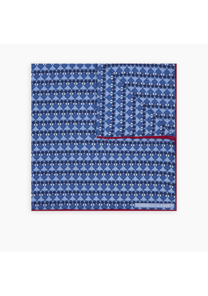 Navy and Red Owls Silk Pocket Square