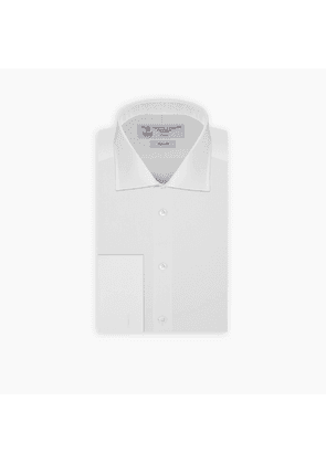 Slim Fit White Cotton Shirt with Regent Collar and Double Cuffs