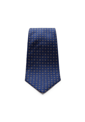 Navy and Brown Mini Square Spot Silk Tie