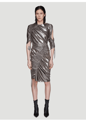 Atlein Mercury Ruched Dress in Silver size FR - 36