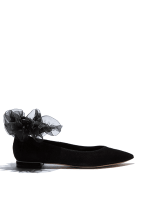 Casadei Flats Women - Aurora Black Suede and tulle 37