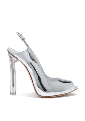 Casadei Sandals Women - Plexi Blade Silver Patent Leather 37
