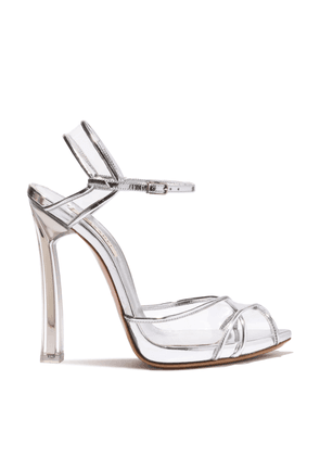 Casadei Sandals Women - Plexi Blade Silver Barbarella Patent Leather 37,5