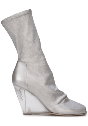 Rick Owens wedge mid calf boots - Silver