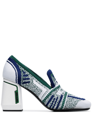 Prada white 85 stretch knit leather loafer pumps