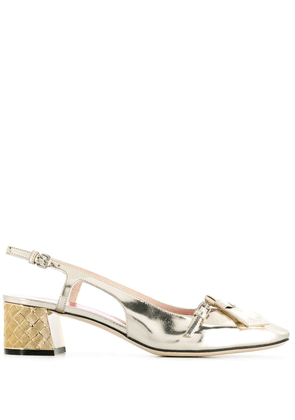 Bottega Veneta Cherbourg patent leather pumps - Gold