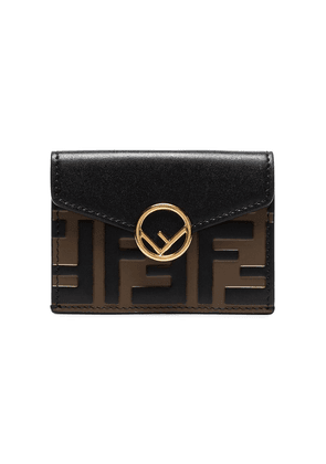 Fendi black Zucca print leather envelope wallet