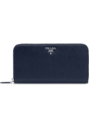 Prada Large Saffiano Leather Wallet - Blue