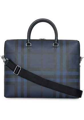 Burberry London Check and Leather Briefcase - Blue