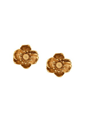 Oscar de la Renta floral drop earrings - Gold