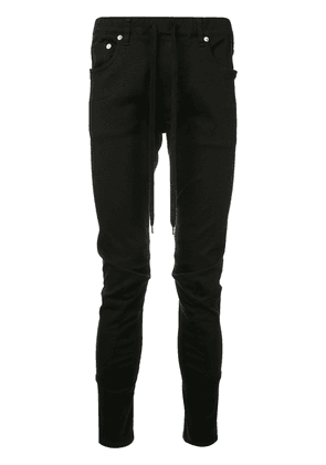 Attachment drawstring-waist biker trousers - Black