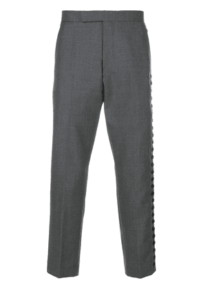 Thom Browne Button-Up Side Seam Solid Wool Twill Mid-rise Trouser -