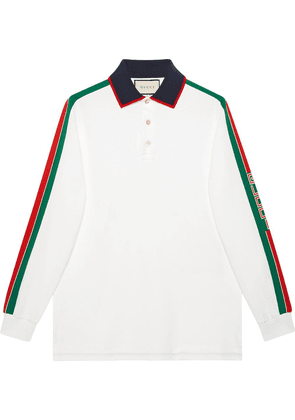 Gucci Cotton polo with Gucci stripe white