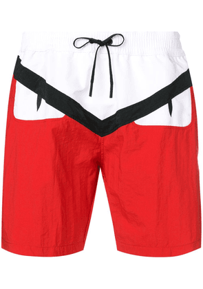 Fendi Bag Bugs logo swim shorts - Red