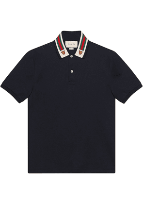 Gucci Cotton polo with Web and feline head - Black