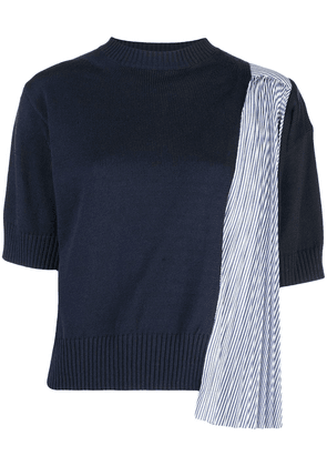 Sacai pleated panel knitted top - Blue