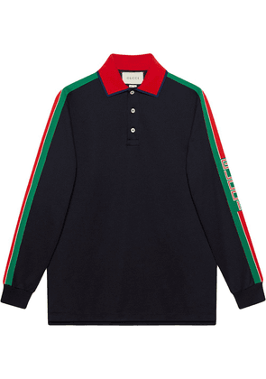 Gucci Cotton polo with Gucci stripe - Black