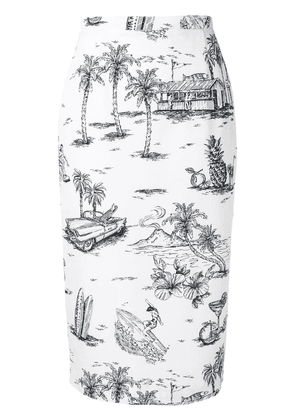 No21 printed pencil skirt - White